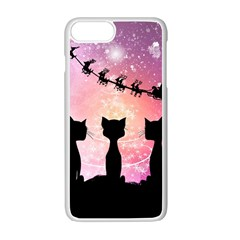 Cats Looking In The Sky At Santa Claus At Night Apple Iphone 7 Plus White Seamless Case by FantasyWorld7