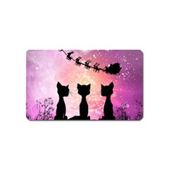 Cats Looking In The Sky At Santa Claus At Night Magnet (name Card)