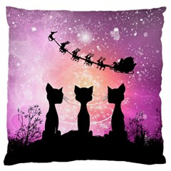 Cats Looking In The Sky At Santa Claus At Night Standard Flano Cushion Case (one Side) by FantasyWorld7