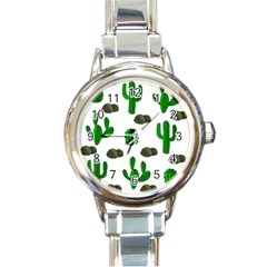 Cactuses 3 Round Italian Charm Watch by Valentinaart
