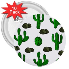 Cactuses 3 3  Buttons (10 Pack)  by Valentinaart