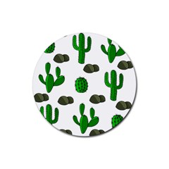 Cactuses 3 Rubber Coaster (round)  by Valentinaart