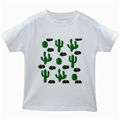 Cactuses 3 Kids White T Shirts by Valentinaart