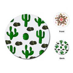 Cactuses 3 Playing Cards (round)  by Valentinaart