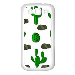 Cactuses 3 Samsung Galaxy S3 Back Case (white) by Valentinaart