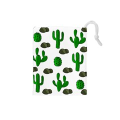 Cactuses 3 Drawstring Pouches (small)  by Valentinaart