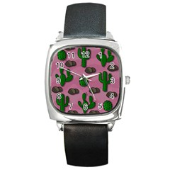 Cactuses 2 Square Metal Watch by Valentinaart