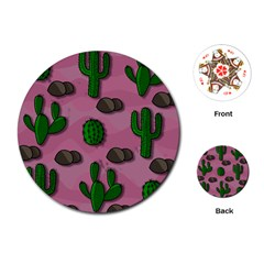 Cactuses 2 Playing Cards (round)