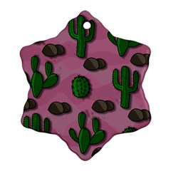Cactuses 2 Snowflake Ornament (2 Side) by Valentinaart