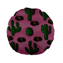 Cactuses 2 Standard 15  Premium Round Cushions by Valentinaart