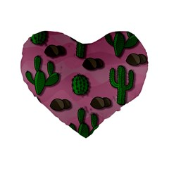 Cactuses 2 Standard 16  Premium Heart Shape Cushions by Valentinaart