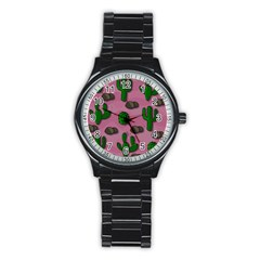 Cactuses 2 Stainless Steel Round Watch by Valentinaart
