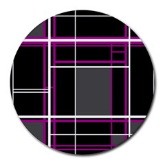 Simple Magenta Lines Round Mousepads by Valentinaart