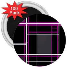 Simple Magenta Lines 3  Magnets (100 Pack) by Valentinaart