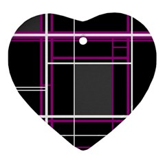 Simple Magenta Lines Heart Ornament (2 Sides) by Valentinaart