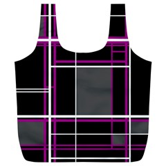 Simple Magenta Lines Full Print Recycle Bags (l)  by Valentinaart