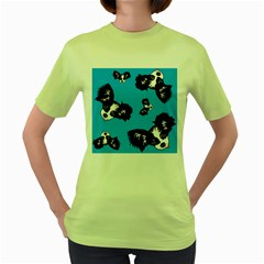 Cute Face Dog Funny Detective Women s Green T Shirt