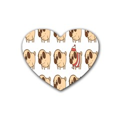 Cute Dog Rubber Coaster (heart)