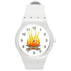 Fire Round Plastic Sport Watch (m)