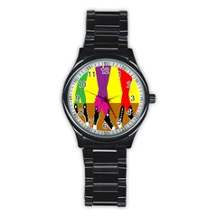 Foot Dance Stainless Steel Round Watch