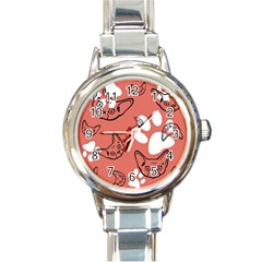 Face Cat Pink Cute Round Italian Charm Watch by AnjaniArt