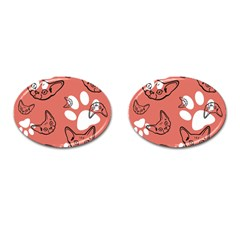 Face Cat Pink Cute Cufflinks (oval)