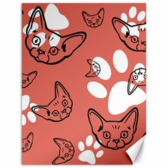 Face Cat Pink Cute Canvas 12  X 16