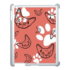 Face Cat Pink Cute Apple Ipad 3/4 Case (white) by AnjaniArt