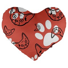 Face Cat Pink Cute Large 19  Premium Heart Shape Cushions