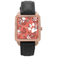 Face Cat Pink Cute Rose Gold Leather Watch
