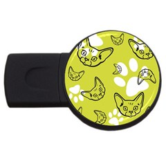 Face Cat Green Usb Flash Drive Round (4 Gb)  by AnjaniArt