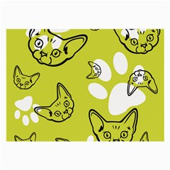 Face Cat Green Large Glasses Cloth (2 Side) by AnjaniArt