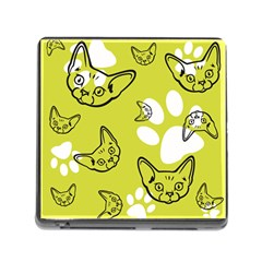 Face Cat Green Memory Card Reader (square) by AnjaniArt