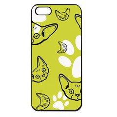Face Cat Green Apple Iphone 5 Seamless Case (black)