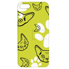 Face Cat Green Apple Iphone 5 Hardshell Case With Stand by AnjaniArt