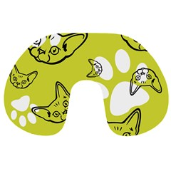 Face Cat Green Travel Neck Pillows by AnjaniArt