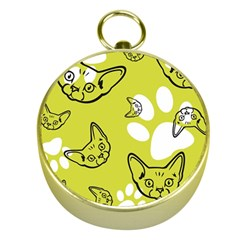 Face Cat Green Gold Compasses by AnjaniArt
