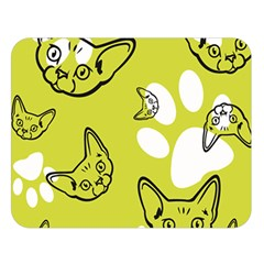 Face Cat Green Double Sided Flano Blanket (large)