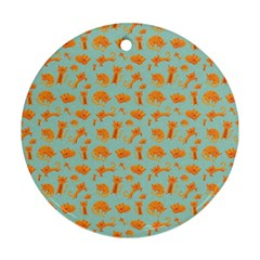 Cute Cat Animals Orange Ornament (round)