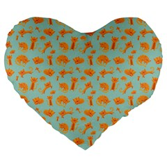 Cute Cat Animals Orange Large 19  Premium Heart Shape Cushions by AnjaniArt
