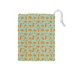 Cute Cat Animals Orange Drawstring Pouches (medium)  by AnjaniArt