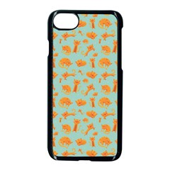 Cute Cat Animals Orange Apple Iphone 7 Seamless Case (black) by AnjaniArt