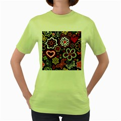 Flower Butterfly Women s Green T Shirt
