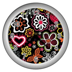 Flower Butterfly Wall Clocks (silver)  by AnjaniArt