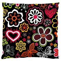 Flower Butterfly Large Cushion Case (one Side) by AnjaniArt