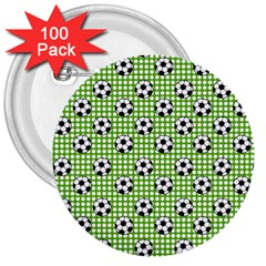 Green Ball 3  Buttons (100 Pack)
