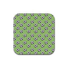 Green Ball Rubber Square Coaster (4 Pack)  by AnjaniArt