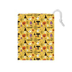 Halloween Pattern Drawstring Pouches (medium)  by AnjaniArt