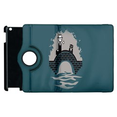 Man And Black Cat Apple Ipad 3/4 Flip 360 Case by AnjaniArt