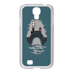 Man And Black Cat Samsung Galaxy S4 I9500/ I9505 Case (white)